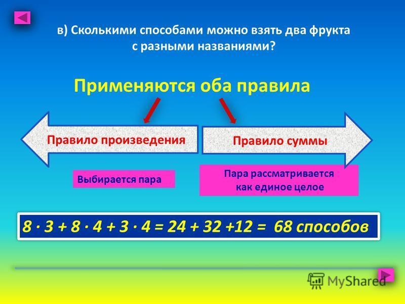 в) Сколькими способами можно взять два фрукта с разными названиями? Применяются оба правила Выбирается пара Пара рассматривается как единое целое 8 · 3 + 8 · 4 + 3 · 4 = 24 + 32 +12 = 68 способов Правило произведения Правило суммы