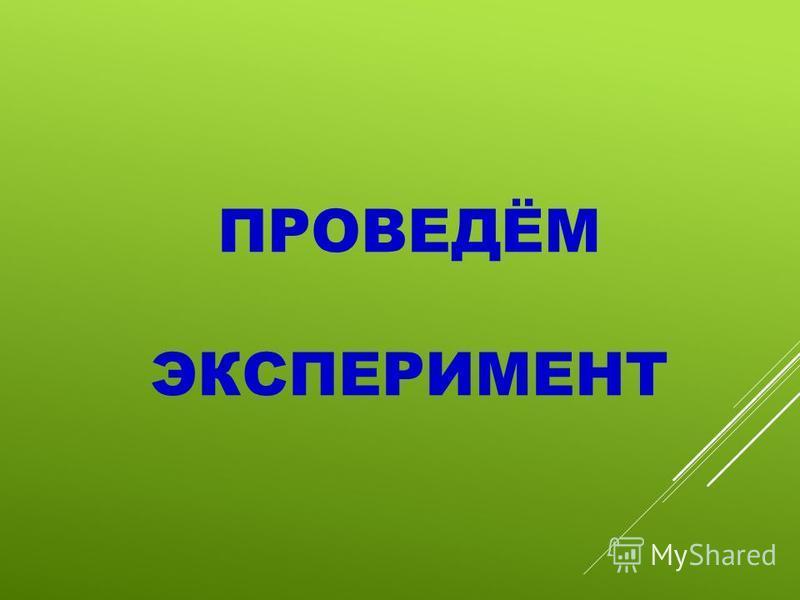ПРОВЕДЁМ ЭКСПЕРИМЕНТ
