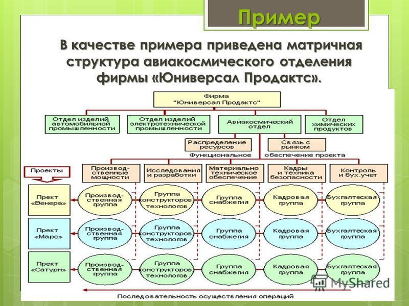 Пример В качестве примера приведена матричная структура авиакосмического отделения фирмы «Юниверсал Продактс». В качестве примера приведена матричная структура авиакосмического отделения фирмы «Юниверсал Продактс».