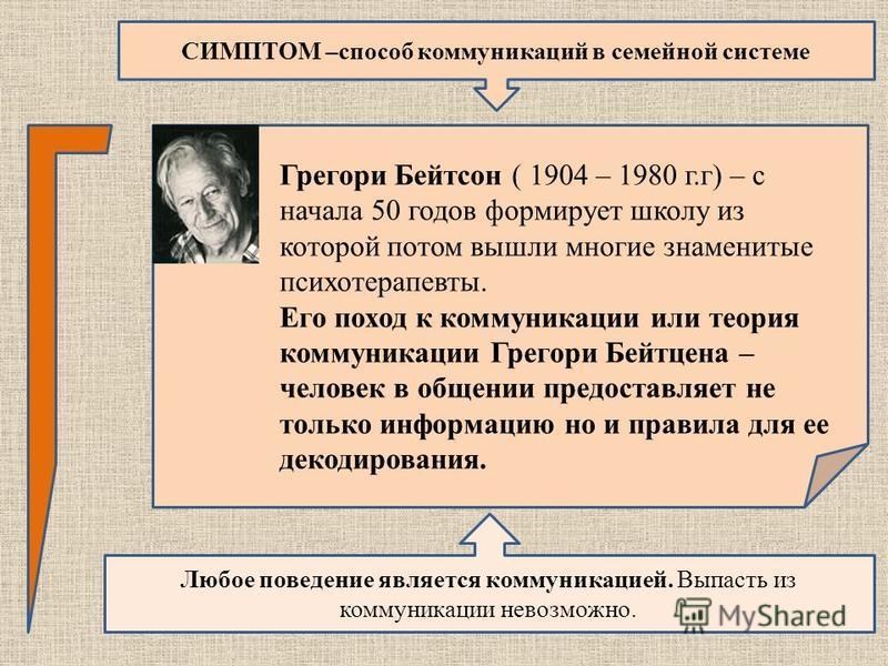 СИМПТОМ –способ коммуникаций в семейной системе Любое поведение является коммуникацией. Выпасть из коммуникации невозможно. Грегори Бейтсон ( 1904 – 1980 г.г) – с начала 50 годов формирует школу из которой потом вышли многие знаменитые психотерапевты