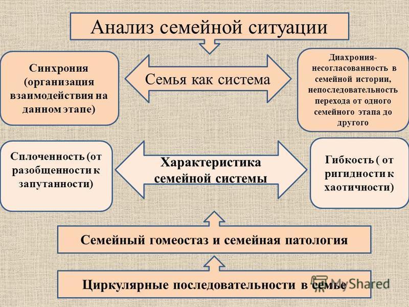 Семья как система Анализ семейной ситуации Синхрония (организация взаимодействия на данном этапе) Диахрония- несогласованность в семейной истории, непоследовательность перехода от одного семейного этапа до другого Характеристика семейной системы Спло