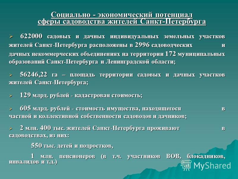 Социально - экономический потенциал сферы садоводства жителей Санкт-Петербурга 622000 садовых и дачных индивидуальных земельных участков жителей Санкт-Петербурга расположены в 2996 садоводческих и дачных некоммерческих объединениях на территории 172