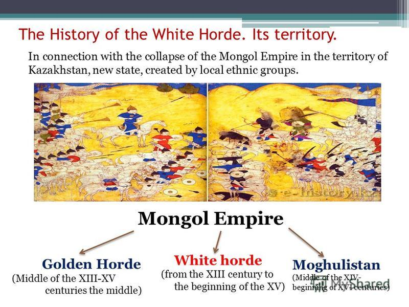 The History of the White Horde. Its territory. Golden Horde (Middle of the XIII-XV centuries the middle) White horde (from the XIII century to the beginning of the XV) Moghulistan (Middle of the XIV- beginning of XVI centuries) Mongol Empire In conne
