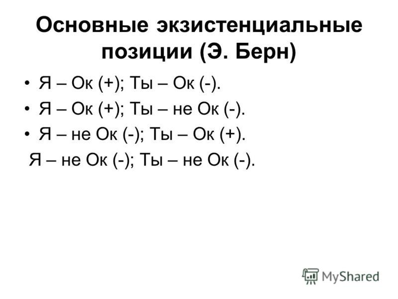 Основные экзистенциальные позиции (Э. Берн) Я – Ок (+); Ты – Ок (-). Я – Ок (+); Ты – не Ок (-). Я – не Ок (-); Ты – Ок (+). Я – не Ок (-); Ты – не Ок (-).