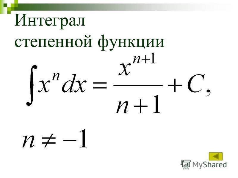 Интеграл степенной функции