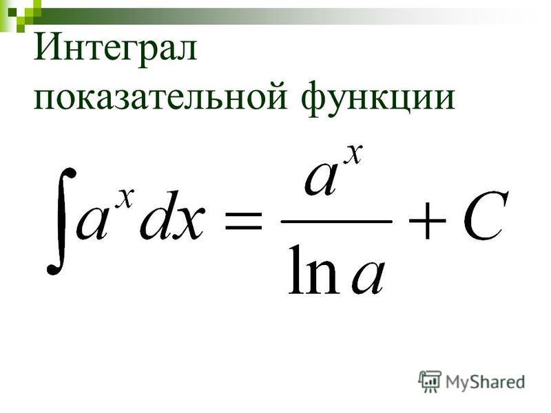 Интеграл показательной функции
