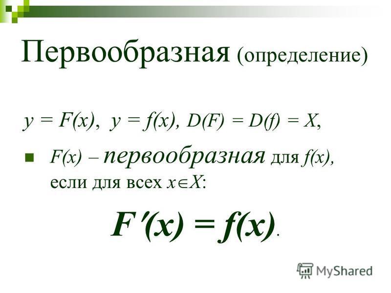 Первообразная (определение) y = F(x), y = f(x), D(F) = D(f) = X, F(x) – первообразная для f(x), если для всех x Х: F (x) = f(x).