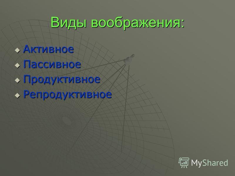 Лекция 5 Воображение : 1. в построении образа средств и конечного результата предметной деятельности субъекта; 2. в создании программы поведения, когда проблемная ситуация неопределенна; 3. в создании образов, соответствующих описанию объекта. Вообра