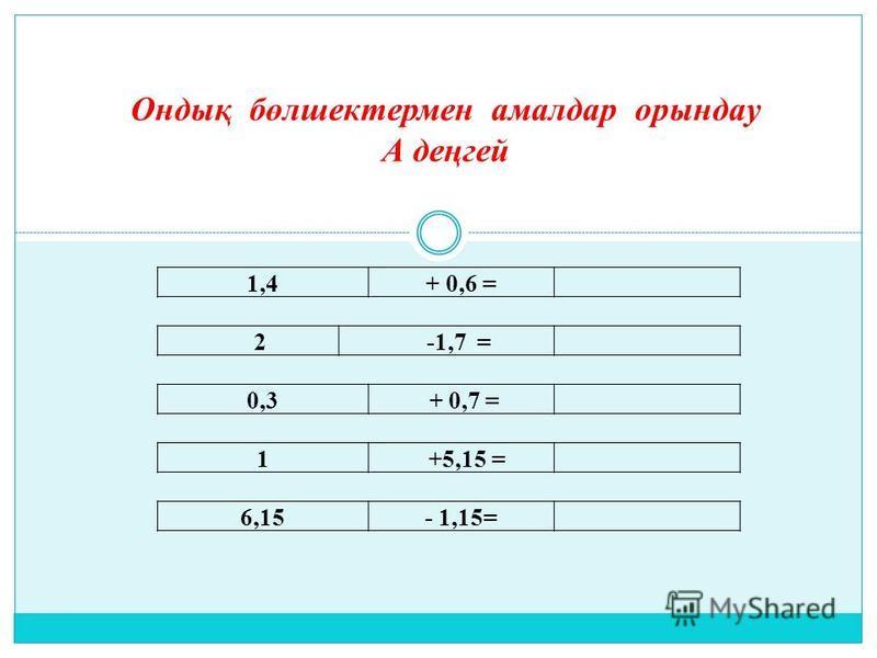 1,4+ 0,6 = 2 -1,7 = 0,3 + 0,7 = 1 +5,15 = 6,15- 1,15= Ондық бөлшектермен амалдар орындау А деңгей