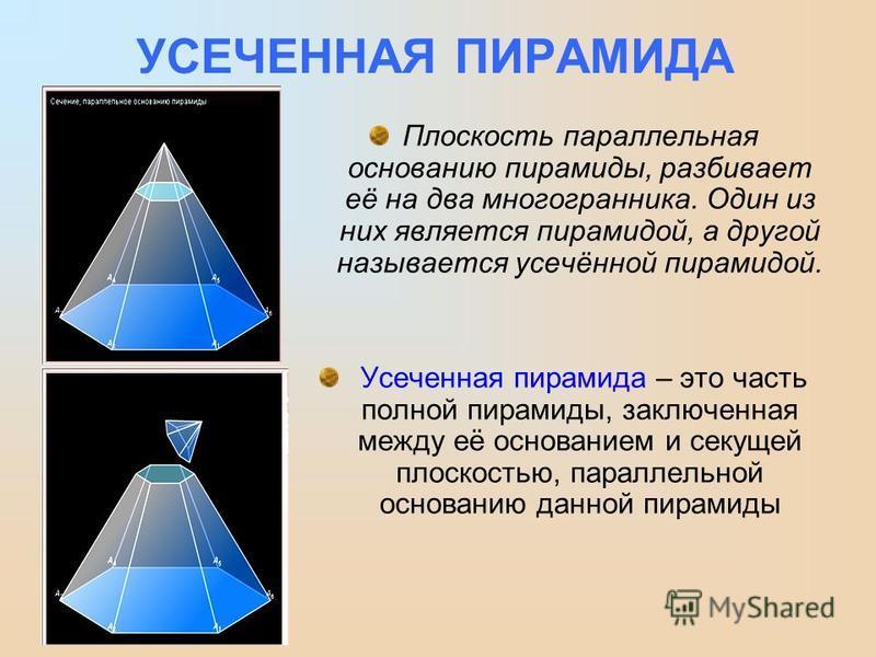 УСЕЧЕННАЯ ПИРАМИДА Плоскость параллельная основанию пирамиды, разбивает её на два многогранника. Один из них является пирамидой, а другой называется усачённой пирамидой. Усеченная пирамида – это часть полной пирамиды, заключенная между её основанием
