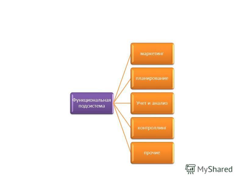 Функциональна я подсистема маркетинг планирование Учет и анализ контроллинг прочие