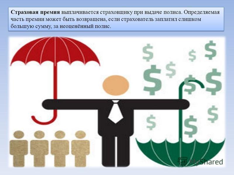 Страховая премия выплачивается страховщику при выдаче полиса. Определяемая часть премии может быть возвращена, если страхователь заплатил слишком большую сумму, за неоценённый полис.