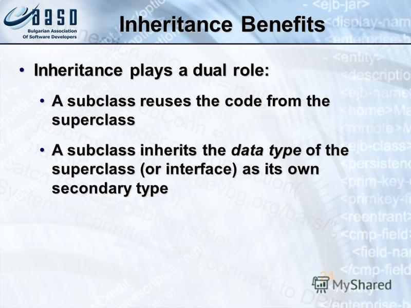 Inheritance Benefits Inheritance plays a dual role:Inheritance plays a dual role: A subclass reuses the code from the superclassA subclass reuses the code from the superclass A subclass inherits the data type of the superclass (or interface) as its o