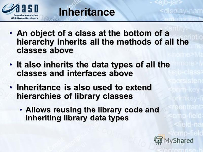 Inheritance An object of a class at the bottom of a hierarchy inherits all the methods of all the classes aboveAn object of a class at the bottom of a hierarchy inherits all the methods of all the classes above It also inherits the data types of all