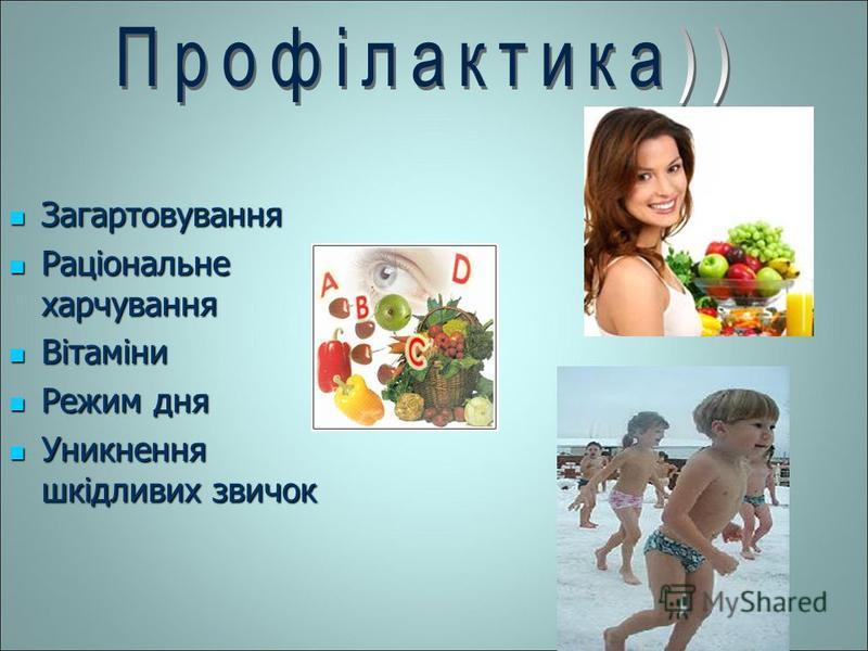 Загартовування Раціональне харчування Вітаміни Режим дня Уникнення шкідливих звичок