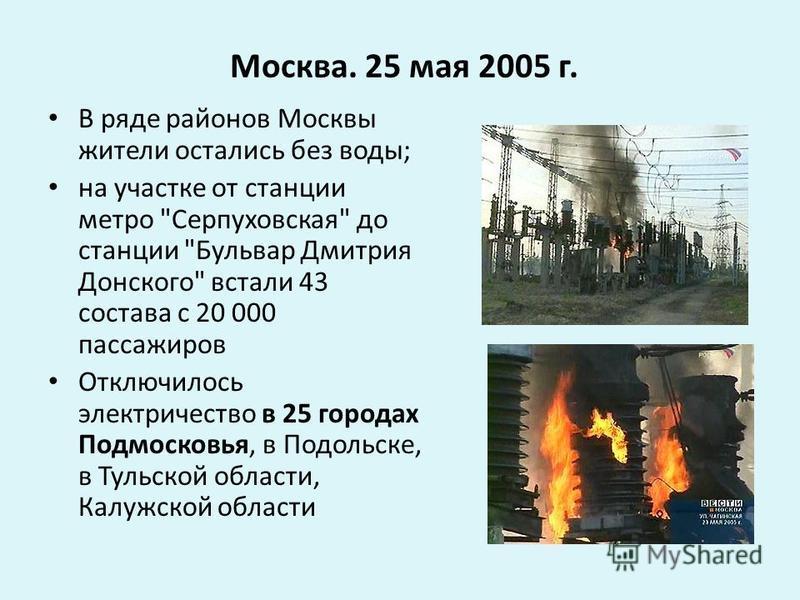Москва. 25 мая 2005 г. В ряде районов Москвы жители остались без воды; на участке от станции метро