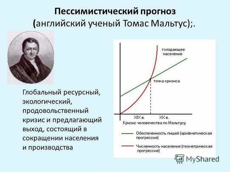 Пессимистический прогноз (английский ученый Томас Мальтус);. Глобальный ресурсный, экологический, продовольственный кризис и предлагающий выход, состоящий в сокращении населения и производства
