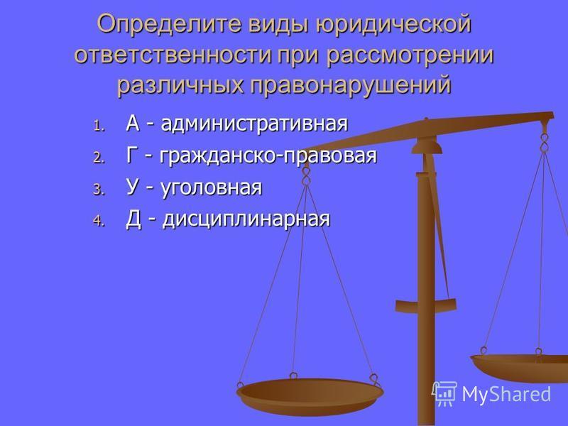 Определите виды юридической ответственности при рассмотрении различных правонарушений 1. А - административная 2. Г - гражданско-правовая 3. У - уголовная 4. Д - дисциплинарная