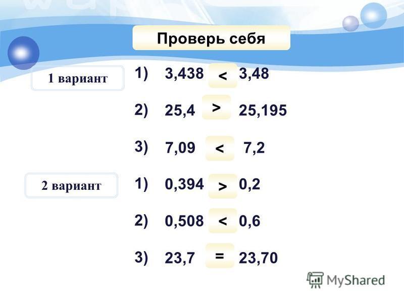 Порівняйте числа: 1) 3) 1) 2) 3) 2) 3,438 і 3,48 25,4 і 25,195 7,09 і 7,2 0,394 і 0,2 0,508 і 0,6 23,7 і 23,70 Проверь себя < > < > < = 1 вариант 2 вариант