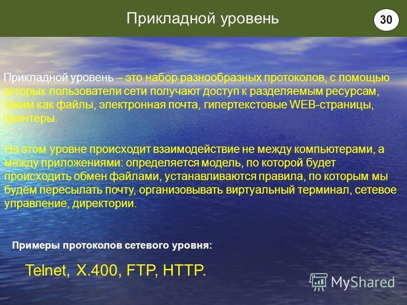Прикладной уровень – это набор разнообразных протоколов, с помощью которых пользователи сети получают доступ к разделяемым ресурсам, таким как файлы, электронная почта, гипертекстовые WEB-страницы, принтеры. На этом уровне происходит взаимодействие н