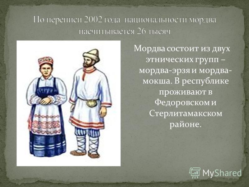 Мордва состоит из двух этнических групп – мордва-эрзя и мордва- мокша. В республике проживают в Федоровском и Стерлитамакском районе.