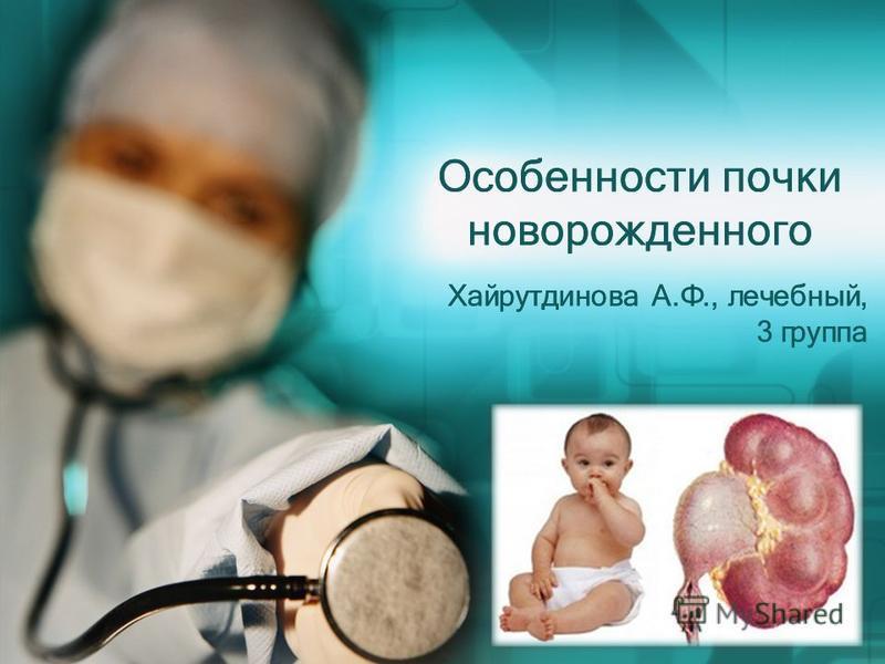 Особенности почки новорожденного Хайрутдинова А.Ф., лечебный, 3 группа