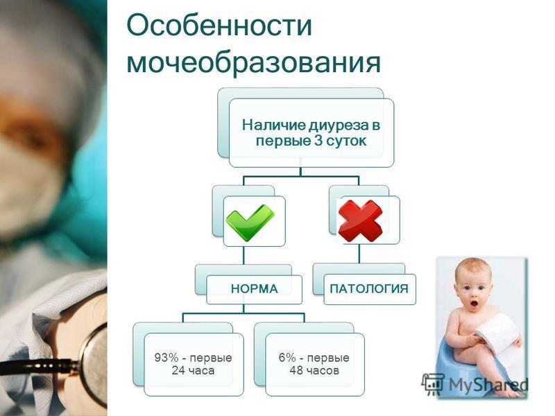 Особенности мочеобразования Наличие диуреза в первые 3 суток НОРМА 93% - первые 24 часа 6% - первые 48 часов ПАТОЛОГИЯ