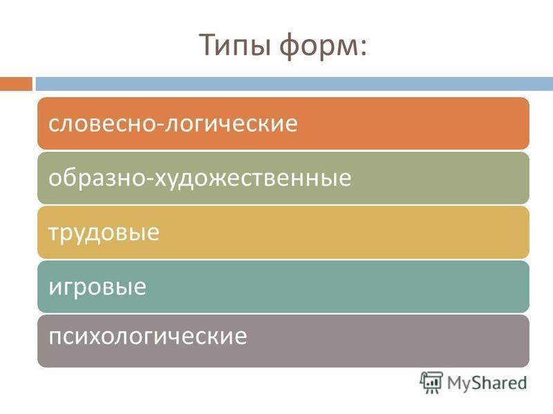 Типы форм : словесно - логическиеобразно - художественные трудовые игровые психологические
