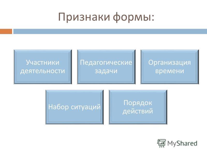 Признаки формы : Участники деятельности Педагогические задачи Организация времени Набор ситуаций Порядок действий