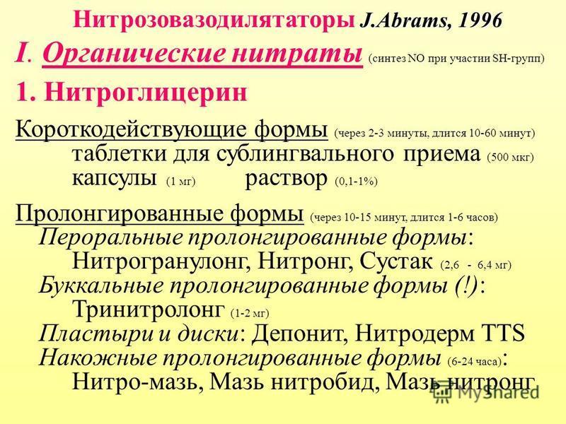 J.Abrams, 1996 Нитрозовазодилятаторы J.Abrams, 1996 I. Органические нитраты (синтез NO при участии SH-групп) 1. Нитроглицерин Короткодействующие формы (через 2-3 минуты, длится 10-60 минут) таблетки для сублингвального приема (500 мкг) капсулы (1 мг)