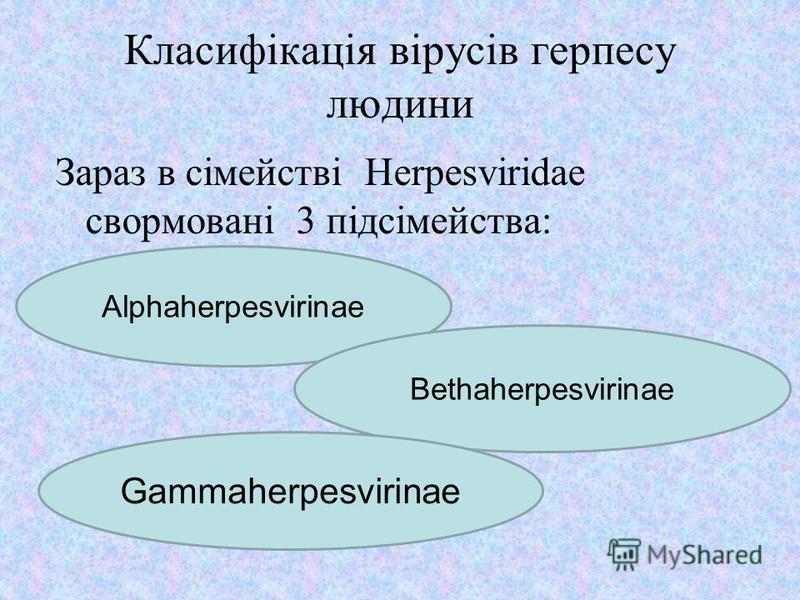 Класифікація вірусів герпесу людини Зараз в сімействі Herpesviridae свормовані 3 підсімейства: Alphaherpesvirinae Bethaherpesvirinae Gammaherpesvirinae