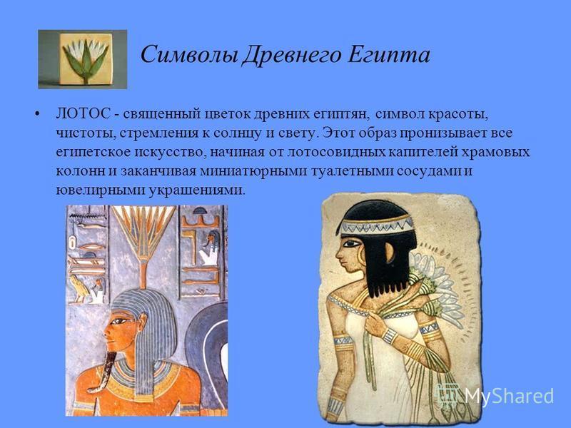 ЛОТОС - священный цветок древних египтян, символ красоты, чистоты, стремления к солнцу и свету. Этот образ пронизывает все египетское искусство, начиная от лотосовидных капителей храмовых колонн и заканчивая миниатюрными туалетными сосудами и ювелирн