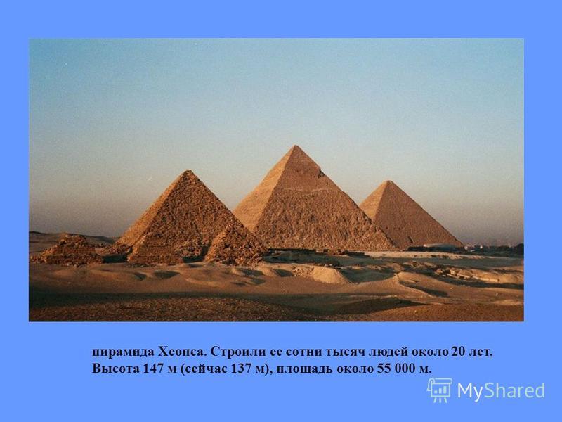 пирамида Хеопса. Строили ее сотни тысяч людей около 20 лет. Высота 147 м (сейчас 137 м), площадь около 55 000 м.