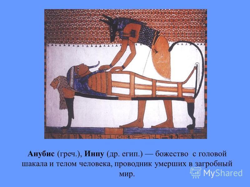 Анубис (греч.), Инпу (др. егип.) божество с головой шакала и телом человека, проводник умерших в загробный мир.