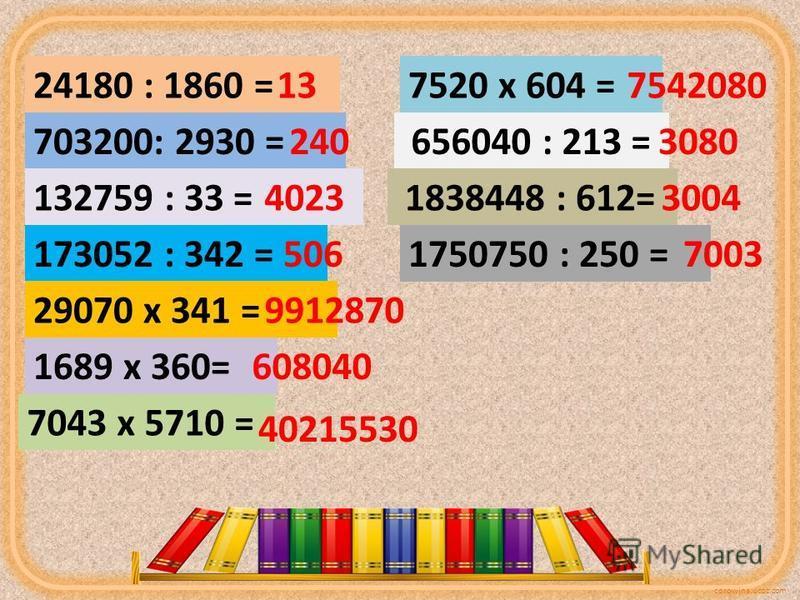 corowina.ucoz.com 24180 : 1860 = 703200: 2930 = 132759 : 33 = 173052 : 342 = 29070 х 341 = 1689 х 360= 7043 х 5710 = 13 240 4023 506 9912870 608040 40215530 7520 х 604 =7542080 656040 : 213 =3080 1838448 : 612= 3004 1750750 : 250 =7003