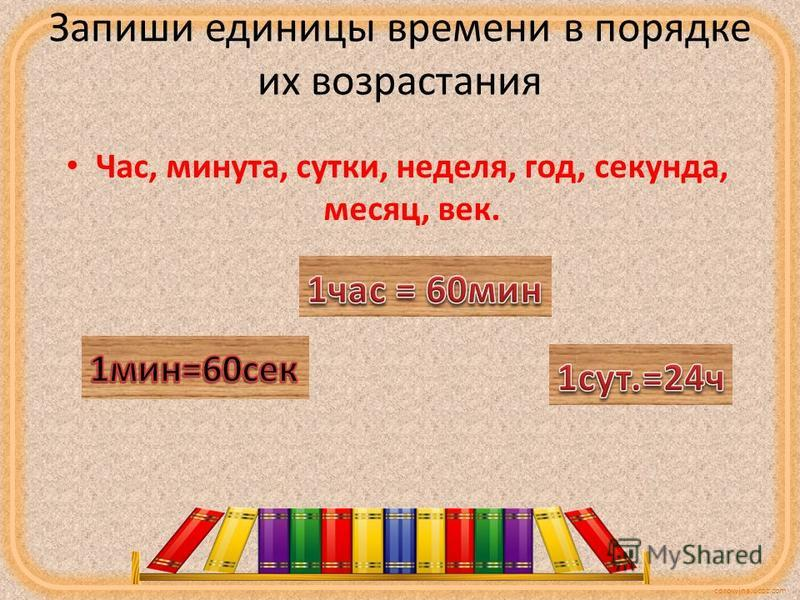 corowina.ucoz.com Запиши единицы времени в порядке их возрастания Час, минута, сутки, неделя, год, секунда, месяц, век.