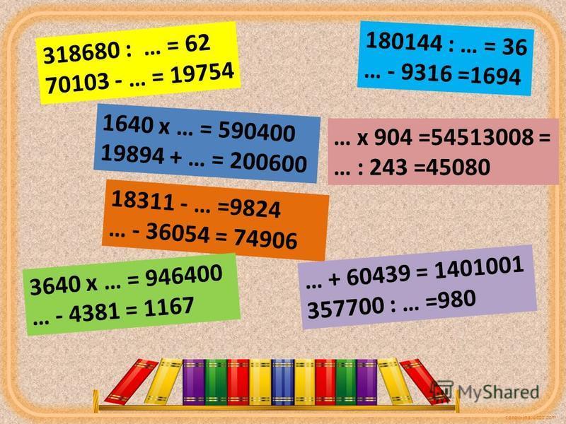 corowina.ucoz.com 318680 : … = 62 70103 - … = 19754 1640 х … = 590400 19894 + … = 200600 18311 - … =9824 … - 36054 = 74906 3640 х … = 946400 … - 4381 = 1167 180144 : … = 36 … - 9316 =1694 … х 904 =54513008 = … : 243 =45080 … + 60439 = 1401001 357700