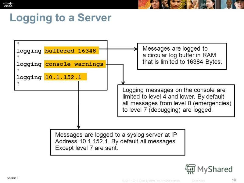 Chapter 1 10 © 2007 – 2010, Cisco Systems, Inc. All rights reserved. Cisco Public Logging to a Server Messages are logged to a circular log buffer in RAM that is limited to 16384 Bytes. Logging messages on the console are limited to level 4 and lower