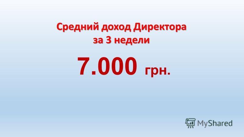 Средний доход Директора за 3 недели 7.000 грн.