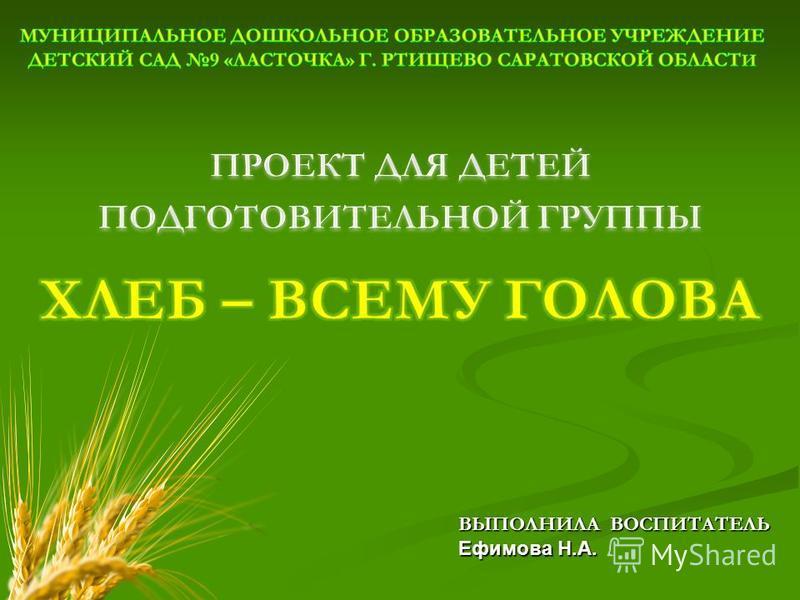 ВЫПОЛНИЛА ВОСПИТАТЕЛЬ Ефимова Н.А.
