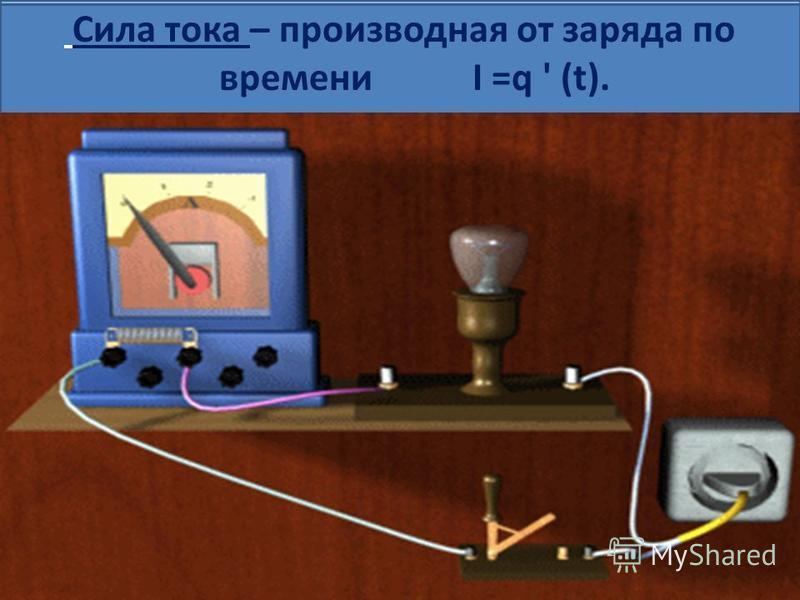 Сила тока – производная от заряда по времени I =q ' (t).