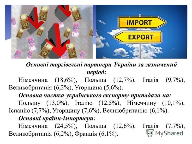 Основні торгівельні партнери України за зазначений період: Німеччина (18,6%), Польща (12,7%), Італія (9,7%), Великобританія (6,2%), Угорщина (5,6%). Основна частка українського експорту припадала на: Польщу (13,0%), Італію (12,5%), Німеччину (10,1%),