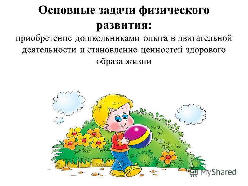 Основные задачи физического развития: приобретение дошкольниками опыта в двигательной деятельности и становление ценностей здорового образа жизни