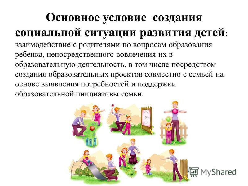 Основное условие создания социальной ситуации развития детей : взаимодействие с родителями по вопросам образования ребенка, непосредственного вовлечения их в образовательную деятельность, в том числе посредством создания образовательных проектов совм