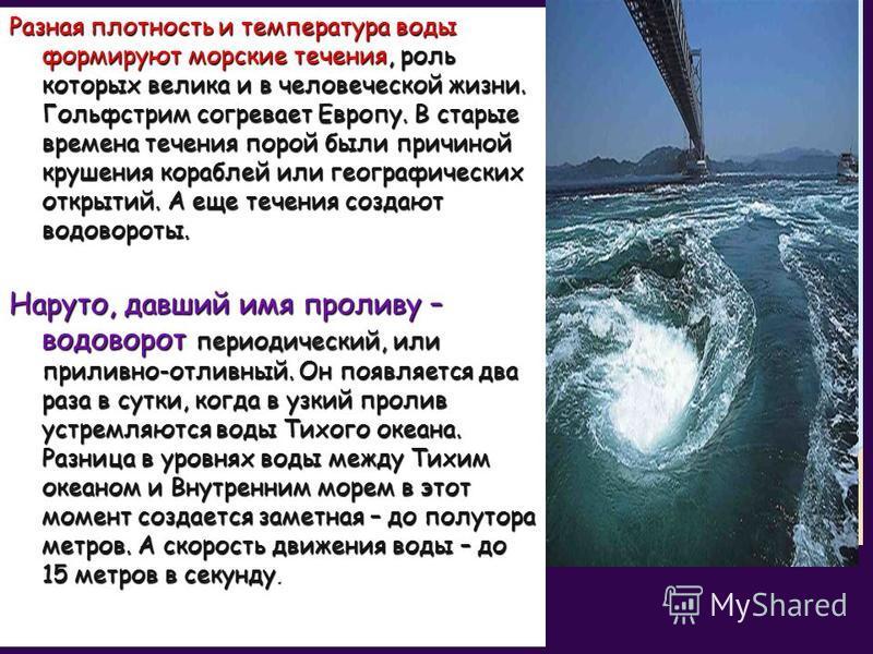 Разная плотность и температура воды формируют морские течения, роль которых велика и в человеческой жизни. Гольфстрим согревает Европу. В старые времена течения порой были причиной крушения кораблей или географических открытий. А еще течения создают