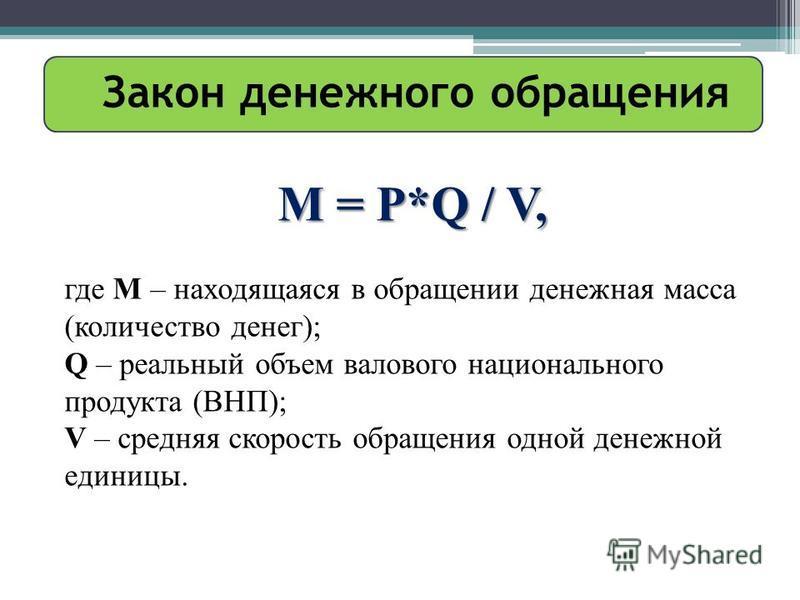 Закон денежного обращения М = Р*Q / V, где М – находящаяся в обращении денежная масса (количество денег); Q – реальный объем валового национального продукта (ВНП); V – средняя скорость обращения одной денежной единицы.