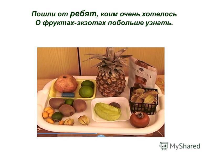 Пошли от ребят, коим очень хотелось О фруктах-экзотах побольше узнать.