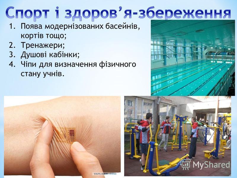 1.Поява модернізованих басейнів, кортів тощо; 2.Тренажери; 3.Душові кабінки; 4.Чіпи для визначення фізичного стану учнів.