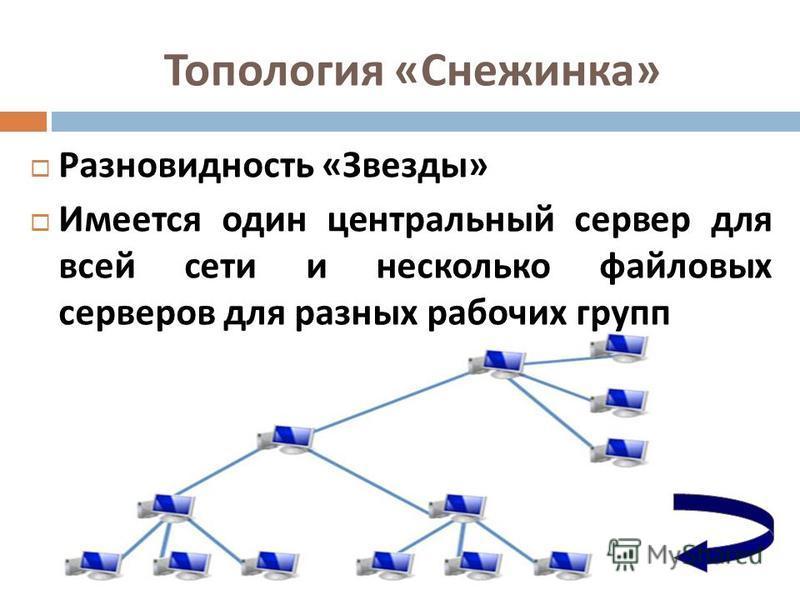 Топология « Снежинка » Разновидность « Звезды » Разновидность « Звезды » Имеется один центральный сервер для всей сети и несколько файловых серверов для разных рабочих групп Имеется один центральный сервер для всей сети и несколько файловых серверов