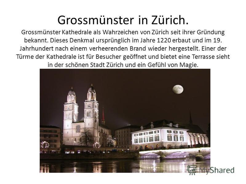 Grossmünster in Zürich. Grossmünster Kathedrale als Wahrzeichen von Zürich seit ihrer Gründung bekannt. Dieses Denkmal ursprünglich im Jahre 1220 erbaut und im 19. Jahrhundert nach einem verheerenden Brand wieder hergestellt. Einer der Türme der Kath